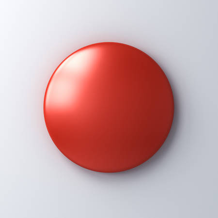 Blank red badge button on white wall background with shadow 3D rendering Stockfoto - 129594225