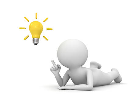 3d man lying on his stomach and pointing finger to the bright idea bulb isolated over white background with shadow 3D rendering