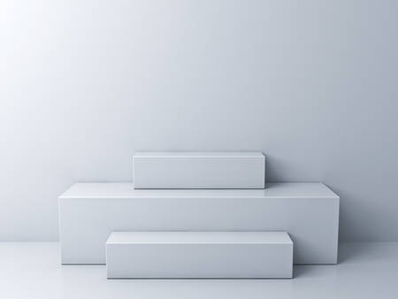Abstract podium display background with minimal boxes on white room 3D rendering Stockfoto