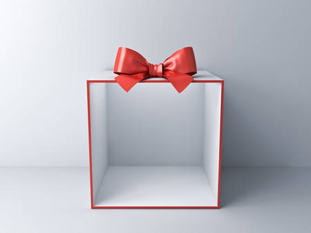 Blank empty display gift box showcase on white room background with shadow 3D rendering Stockfoto - 130120555