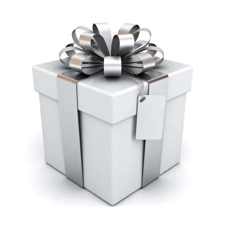Present box or gift box with silver ribbon bow and blank tag isolated on white background with shadow 3D rendering Stockfoto - 131412004