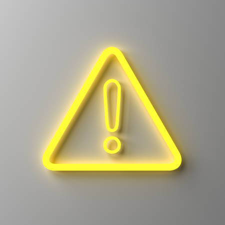Yellow neon light hazard warning attention sign with exclamation mark symbol isolated on dark white wall background 3D rendering Stockfoto - 131410071