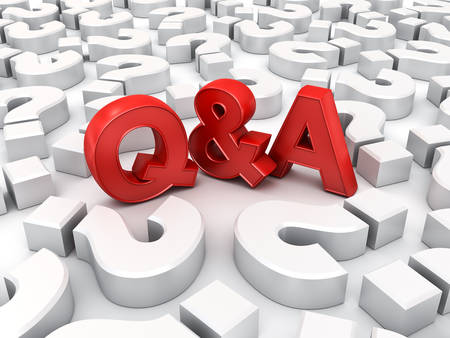 Red Q and A text or Questions and answers concept among white question marks over white background with shadow 3D rendering Stockfoto - 132146880