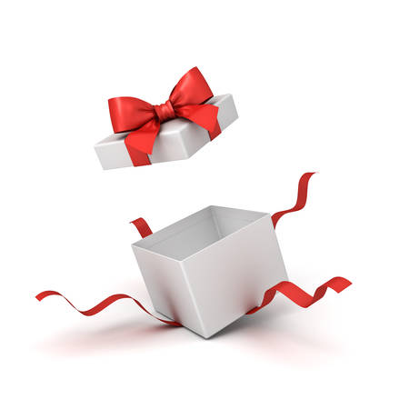 Blank open white present box or gift box with red ribbons and bow isolated on white background with shadow 3D rendering