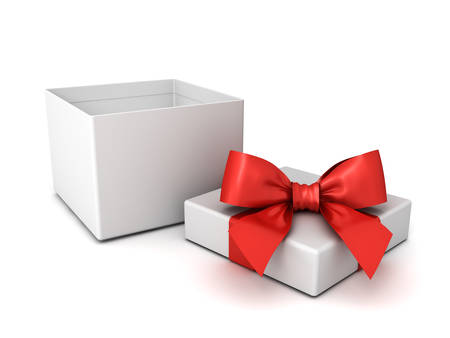 Blank open gift box or present box with red ribbon and bow isolated on white background with shadow 3D rendering Stockfoto - 134858112