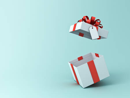 Open present box or gift box with blank tag isolated on green blue pastel color background with shadow 3D rendering