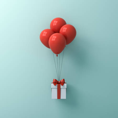 Gift box or present box with red balloons isolated on green blue pastel color wall background with shadow 3D rendering