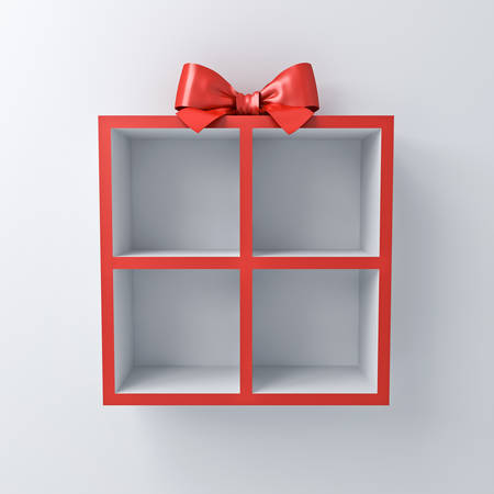Blank gift box shelves for your products isolated on white wall background with shadow 3D rendering Banque d'images