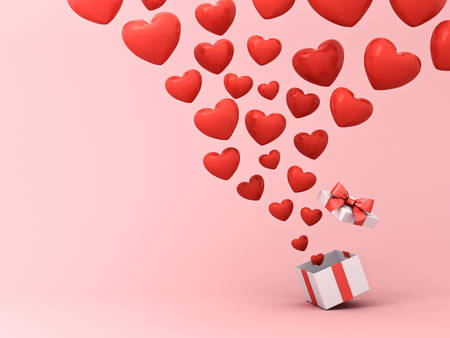 Open gift box with floating heart balloons isolated on pink pastel color background with shadow 3D rendering Banque d'images