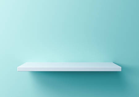 White empty shelf on green blue pastel color background with shadow 3D rendering