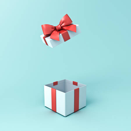 Gift box or open present box with red ribbon and bow isolated on cyan green pastel color background with shadow 3D rendering Banque d'images