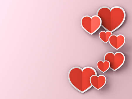 Red paper hearts on pink pastel color background with shadows for Happy valentine's day 3D rendering Banque d'images