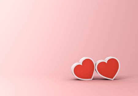 Two Hearts for Valentine's day concept on pink pastel color background with shadow 3D rendering