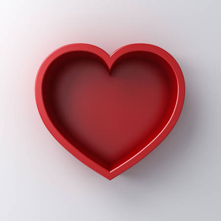 Heart box isolated on white wall background with shadow 3D rendering