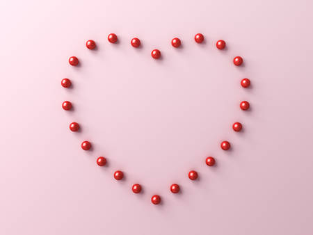 Red pins forming heart shape isolated on pink pastel color background with shadows 3D rendering Banque d'images