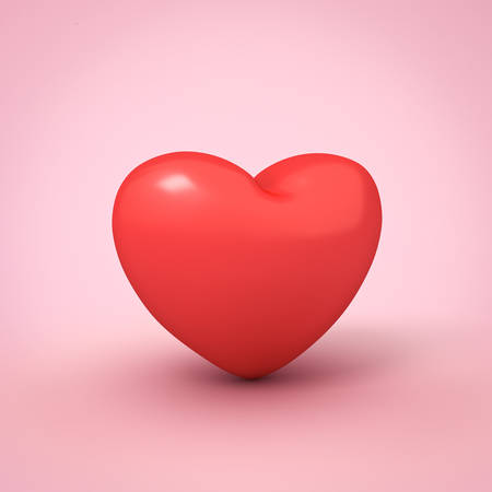 Red heart isolated on pink pastel color background with shadow 3D rendering