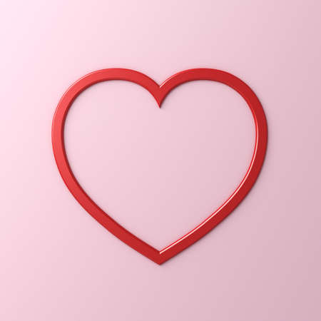 Heart frame isolated on pink pastel color background with shadow 3D rendering