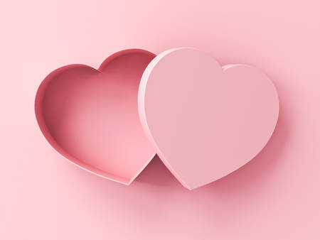 Blank heart box open isolated on pink pastel color background with shadow 3D rendering Banque d'images