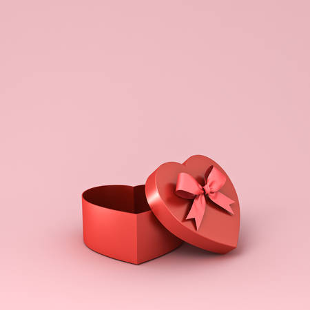 Empty heart shape gift box with red ribbon bow isolated on pink pastel color background with shadow 3D rendering