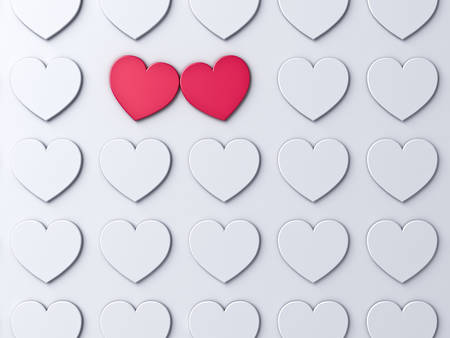 Love heart couple standing out from the crowd on white wall background with shadows Creative ideas and concepts for valentine's day 3D rendering