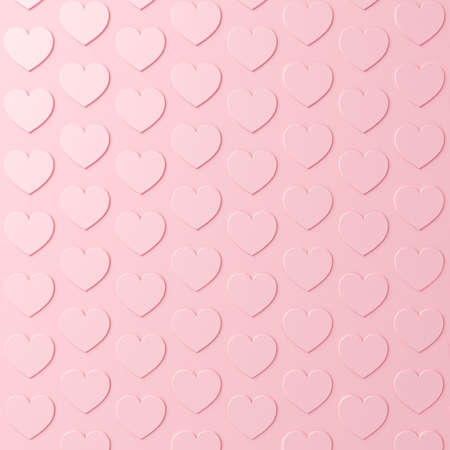 Pink pastel color hearts background with shadows 3D rendering