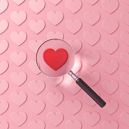 Magnifying glass focusing on red heart among other pink hearts isolated on pink pastel color background with shadow 3D rendering