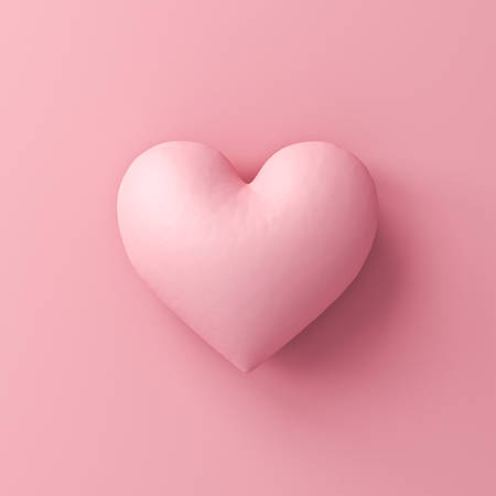 Pink heart isolated on pink pastel color background with shadow 3D rendering