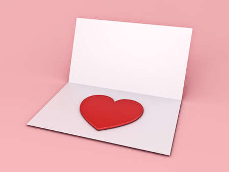 Blank paper card with 3d heart isolated on pink pastel color background with shadow 3D rendering Banque d'images