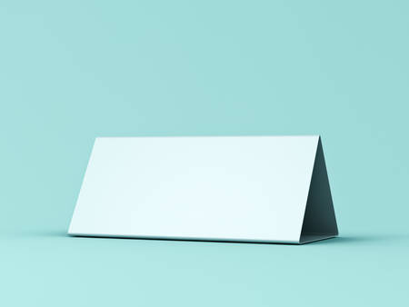 Blank paper triangle card isolated on green blue pastel color background with shadow 3D rendering