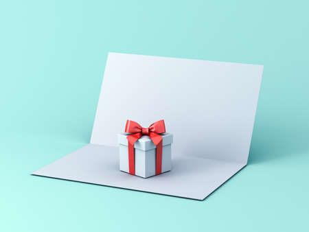 Blank 3d gift card concept isolated on light blue green pastel color background with shadow 3D rendering