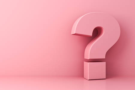 Pink pastel color question mark isolate on pink background with shadow and reflection 3D rendering