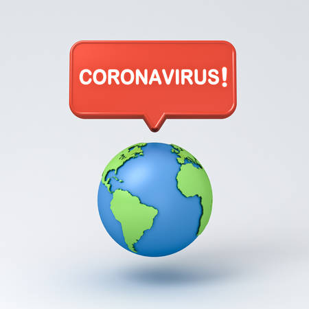 Coronavirus notification warning sign pin with earth globe isolated on white grey background with shadow 3D rendering