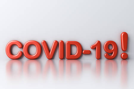 Covid-19 with exclamation mark warning text isolated on white room background with shadow and reflection 3D rendering 版權商用圖片