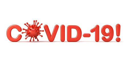 Covid-19 text or coronavirus warning isolated on white background with shadow 3D rendering