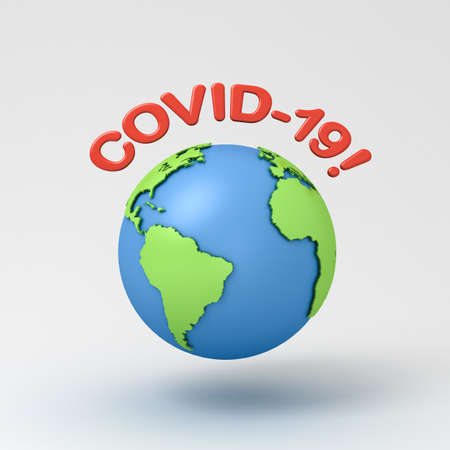 Covid-19 or coronavirus warning text with globe isolated on grey background with shadow 3D rendering