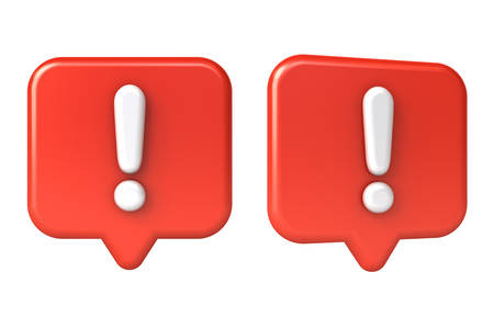 Exclamation mark in red speech bubble or social media notification pin icon isolated on white background 3D rendering