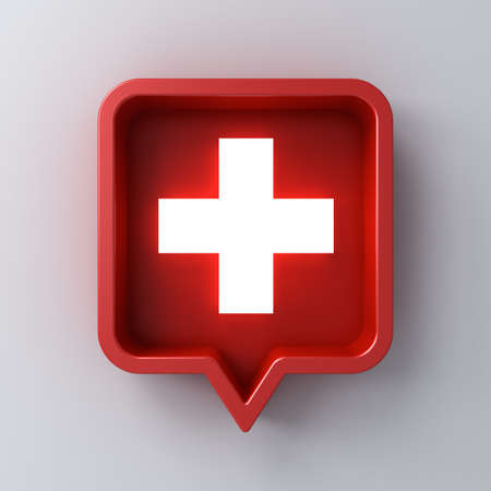 Medical cross or neon light plus sign in red rounded square speech bubble pin isolated on white wall background with shadow 3D rendering 版權商用圖片