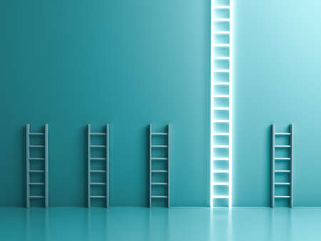 Longest neon light ladder standing out from the crowd and different the business creative idea concepts on blue green pastel color wall background with shadows and reflections 3D rendering