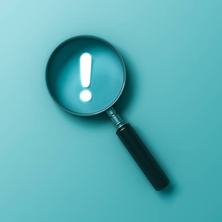 Magnifying glass with neon light exclamation mark isolated on light blue green pastel color wall background with shadow 3D rendering 版權商用圖片