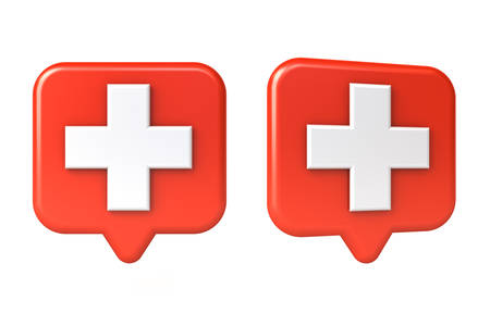 Medical cross or white plus sign in red rounded square speech bubble pin isolated on white background 3D rendering
