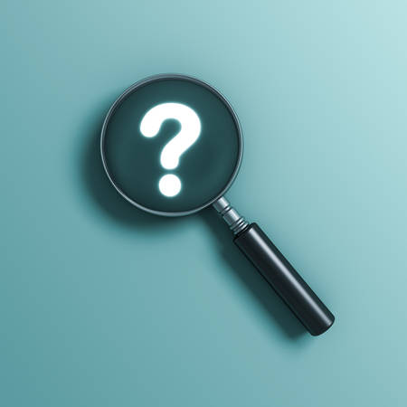 Magnifying glass and Neon light question mark isolated on green blue pastel color wall background with shadows 3D rendering