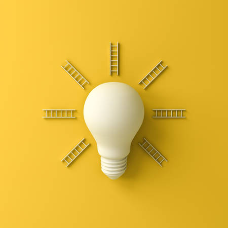 Idea bulb and ray ladders the business concepts isolated on yellow background with shadow 3D rendering 版權商用圖片