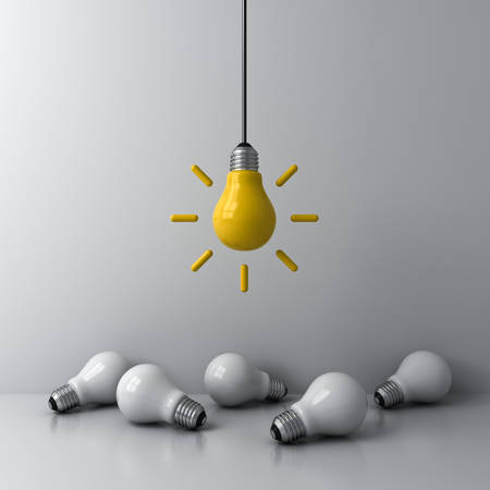 Idea hanging bulb standing out from the crowd the dim unlit white bulbs on white background business creative idea concepts 3D rendering