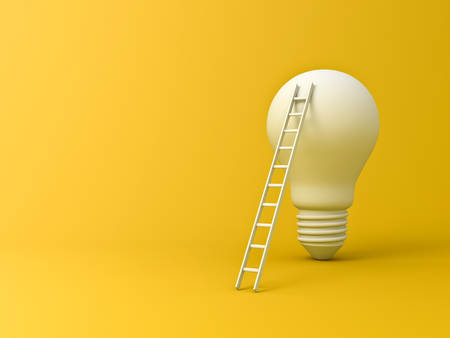 Idea bulb with ladder the business concepts isolated on yellow background with shadow and blank space 3D rendering 版權商用圖片