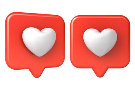 3d love heart on red social media notification pin isolated on white background 3D rendering