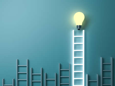 Stand out from the crowd and different creative idea concepts Longest light ladder glowing with bright idea bulb among other short ladders on blue green pastel color background 3D rendering