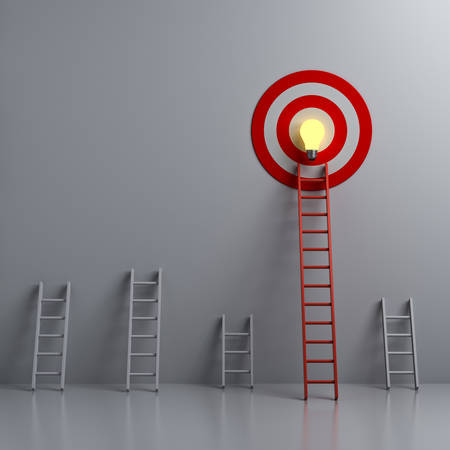 Stand out from the crowd and different creative idea concepts Longest red ladder aiming high to goal target with bright idea bulb among other short ladders on dark white background 3D rendering 版權商用圖片