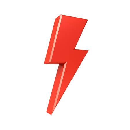 3d thunder or lightning isolated over white background 3D rendering