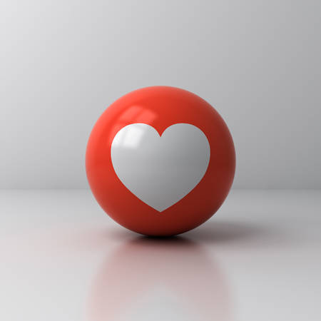 Love like heart icon on red sphere ball isolated on white room background with shadow and reflection 3D rendering