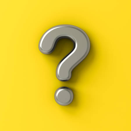 Metal silver question mark isolated on yellow color background with shadow 3D rendering